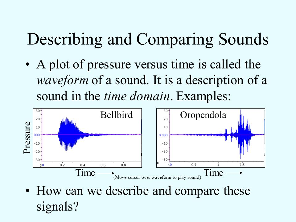 Describing and Comparing Sounds