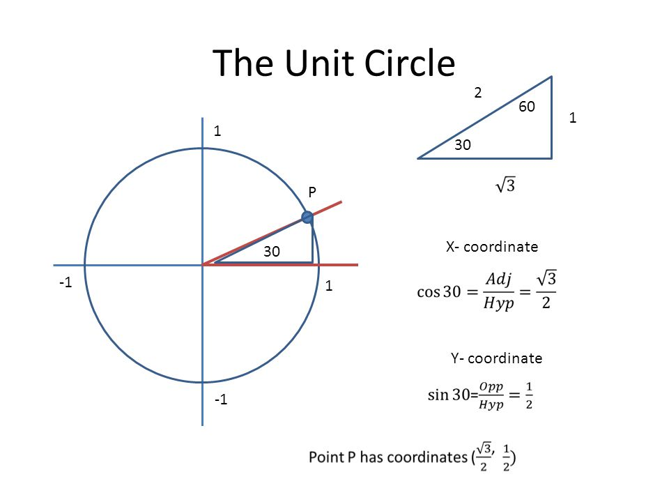 The Unit Circle 2 60 1 1 30 P X- coordinate 30 -1 1 Y- coordinate -1