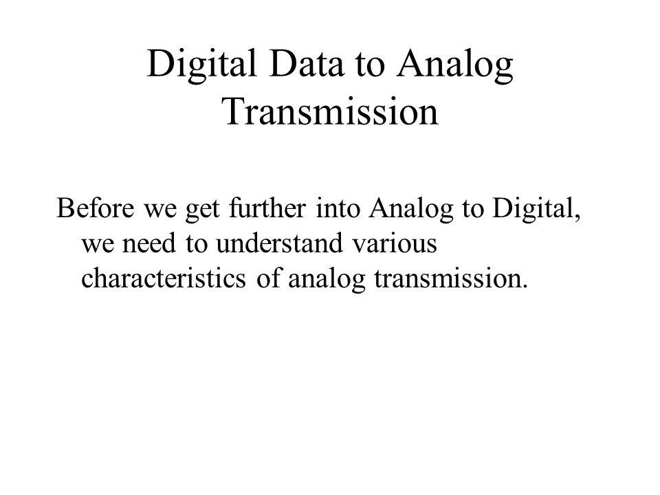 Digital Data to Analog Transmission