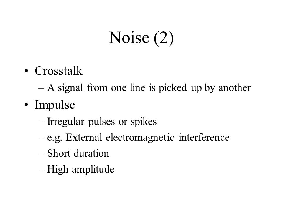 Noise (2) Crosstalk Impulse