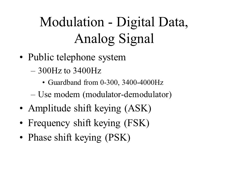 Modulation - Digital Data, Analog Signal