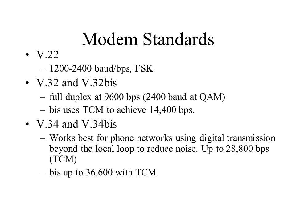 Modem Standards V.22 V.32 and V.32bis V.34 and V.34bis