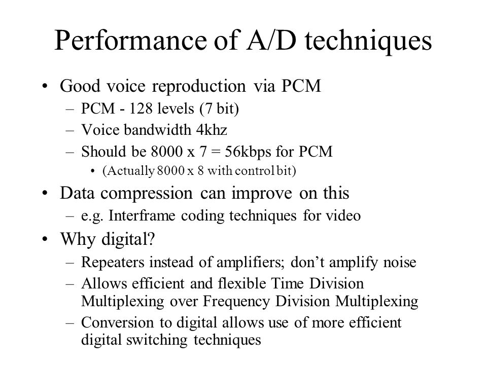 Performance of A/D techniques