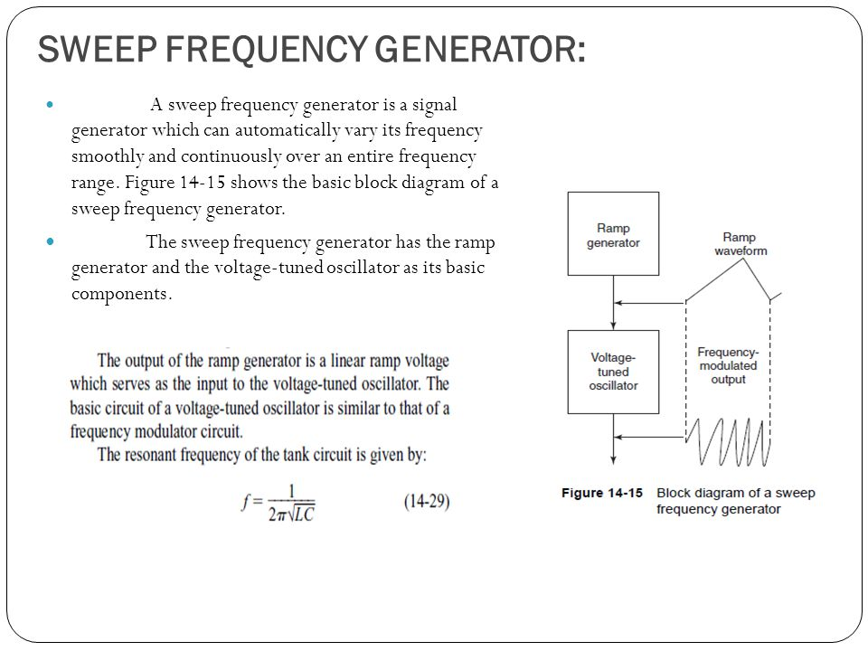 SWEEP FREQUENCY GENERATOR: