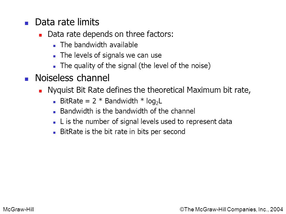 Data rate limits Noiseless channel Data rate depends on three factors: