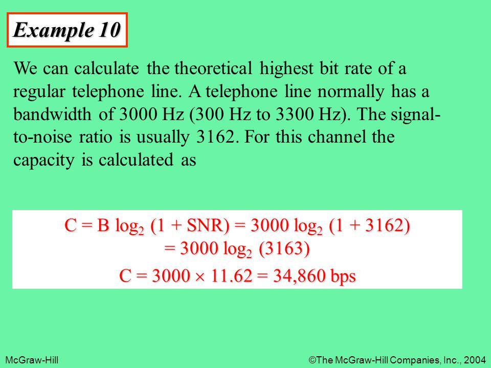 C = B log2 (1 + SNR) = 3000 log2 (1 + 3162) = 3000 log2 (3163)