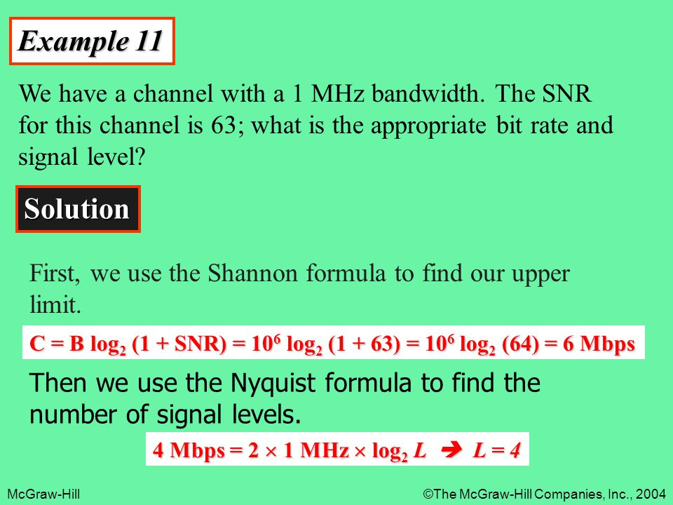 Example 11 We have a channel with a 1 MHz bandwidth. The SNR for this channel is 63; what is the appropriate bit rate and signal level