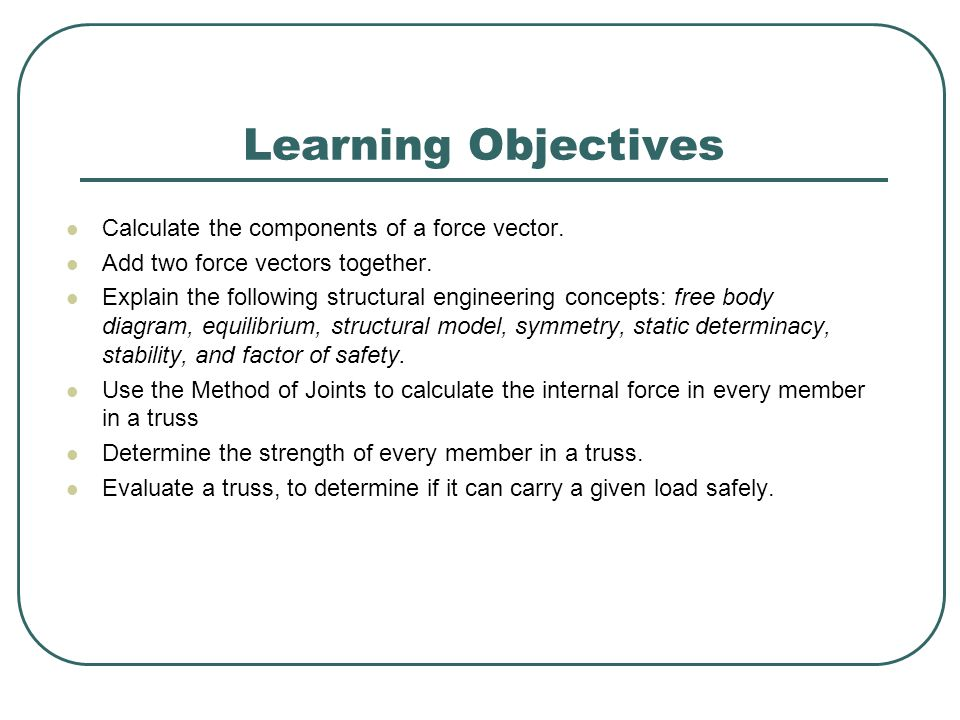 Learning Objectives Calculate the components of a force vector.