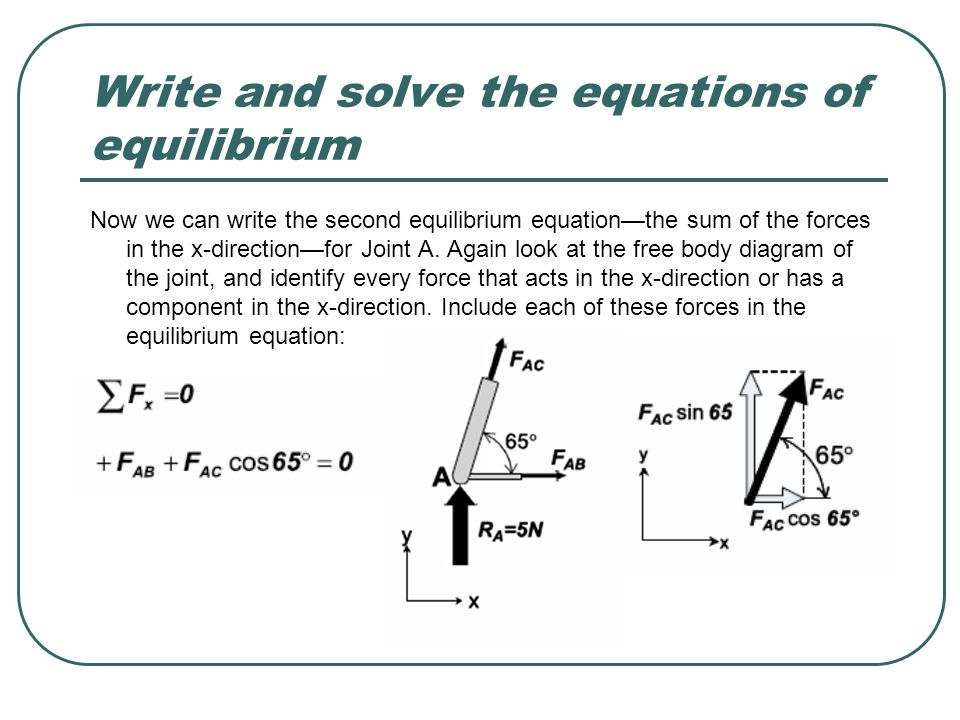 Write and solve the equations of equilibrium