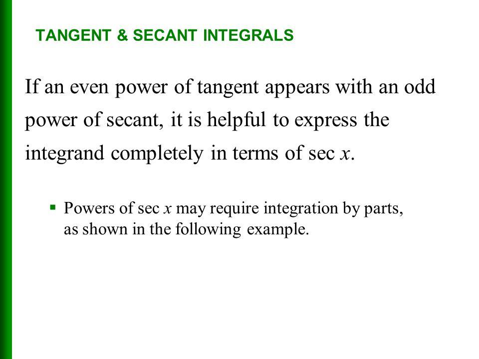 TANGENT & SECANT INTEGRALS