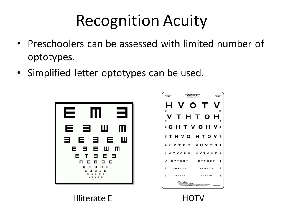 Recognition Acuity Preschoolers can be assessed with limited number of optotypes. Simplified letter optotypes can be used.