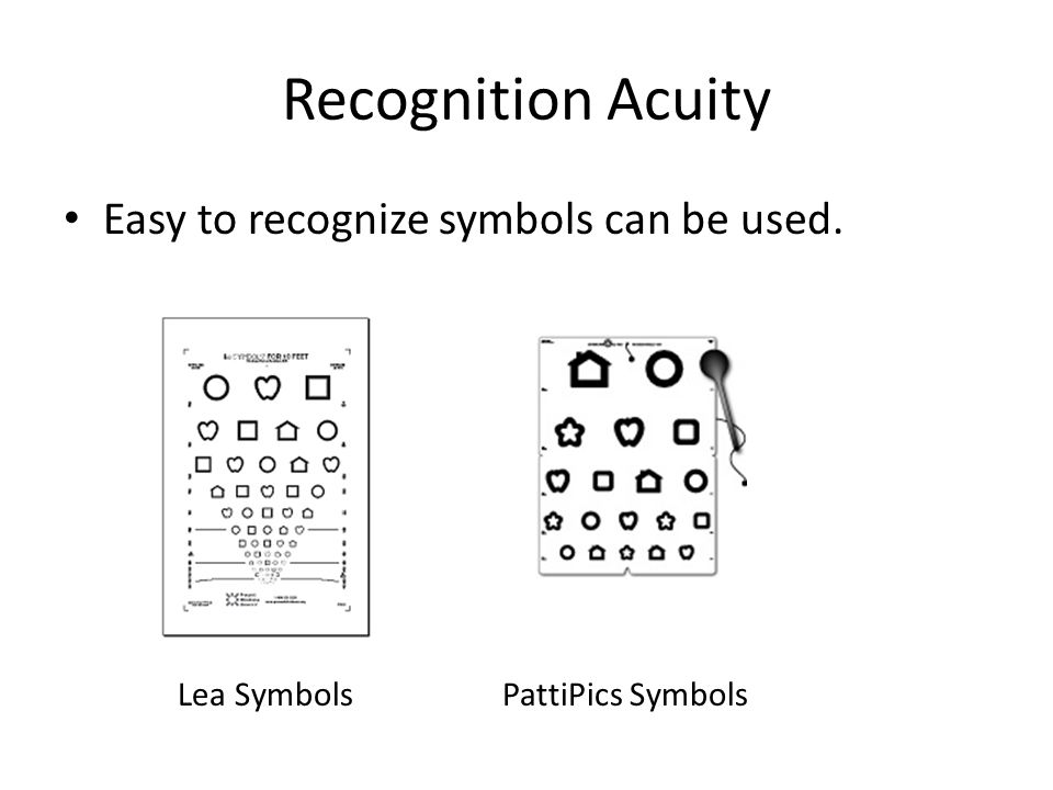 Recognition Acuity Easy to recognize symbols can be used. Lea Symbols