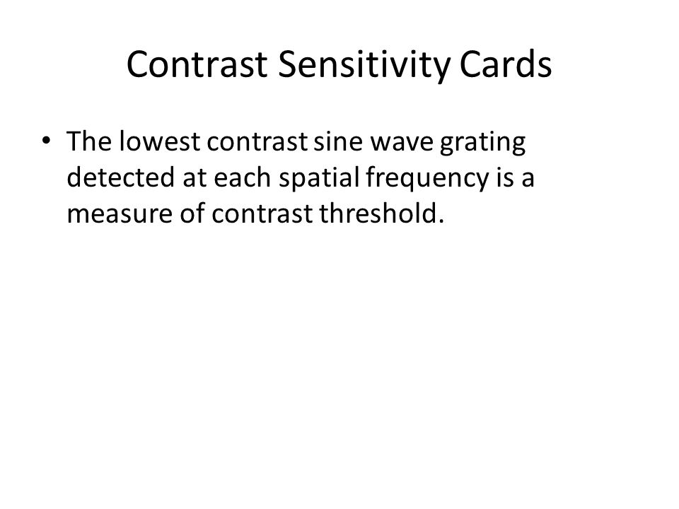 Contrast Sensitivity Cards
