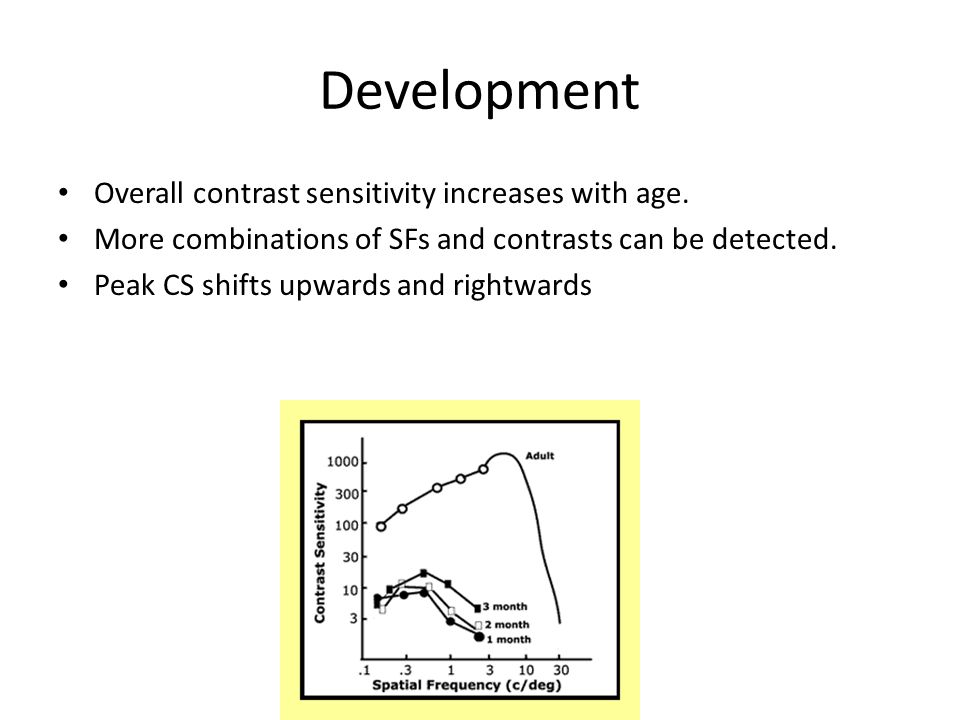 Development Overall contrast sensitivity increases with age.