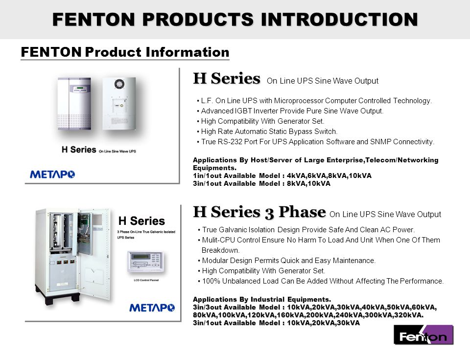FENTON PRODUCTS INTRODUCTION