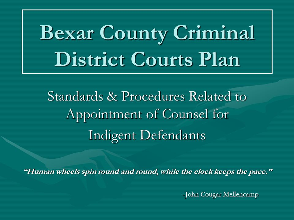 Bexar County Criminal District Courts Plan