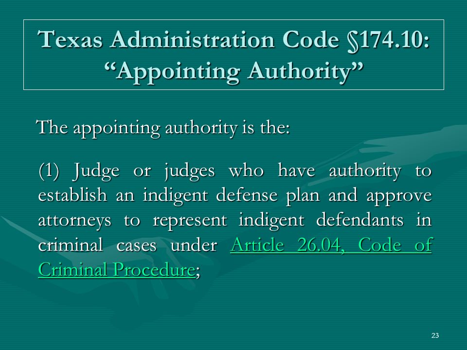 Texas Administration Code §174.10: Appointing Authority