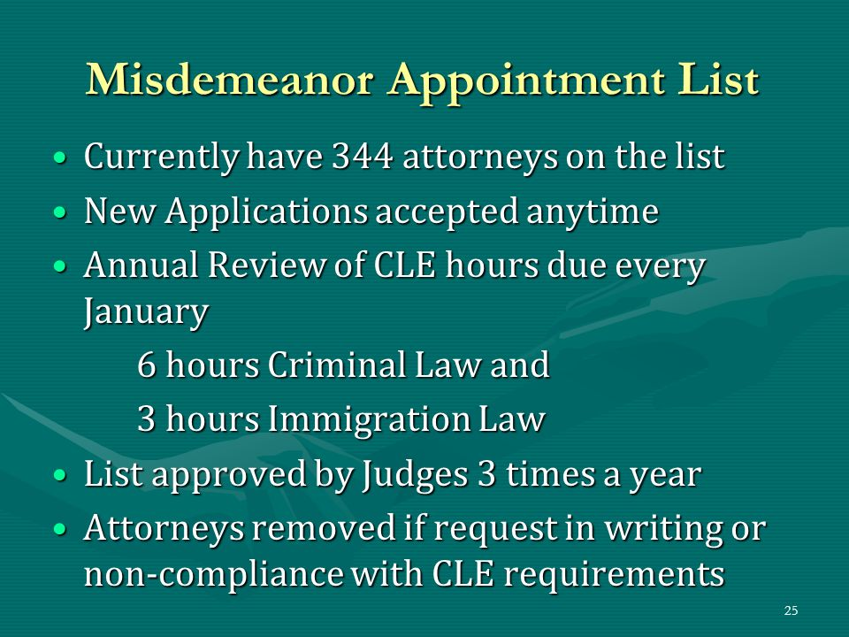 Misdemeanor Appointment List