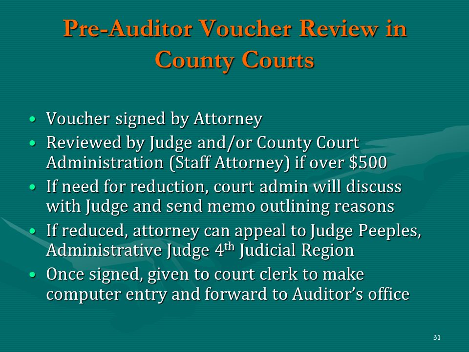 Pre-Auditor Voucher Review in County Courts
