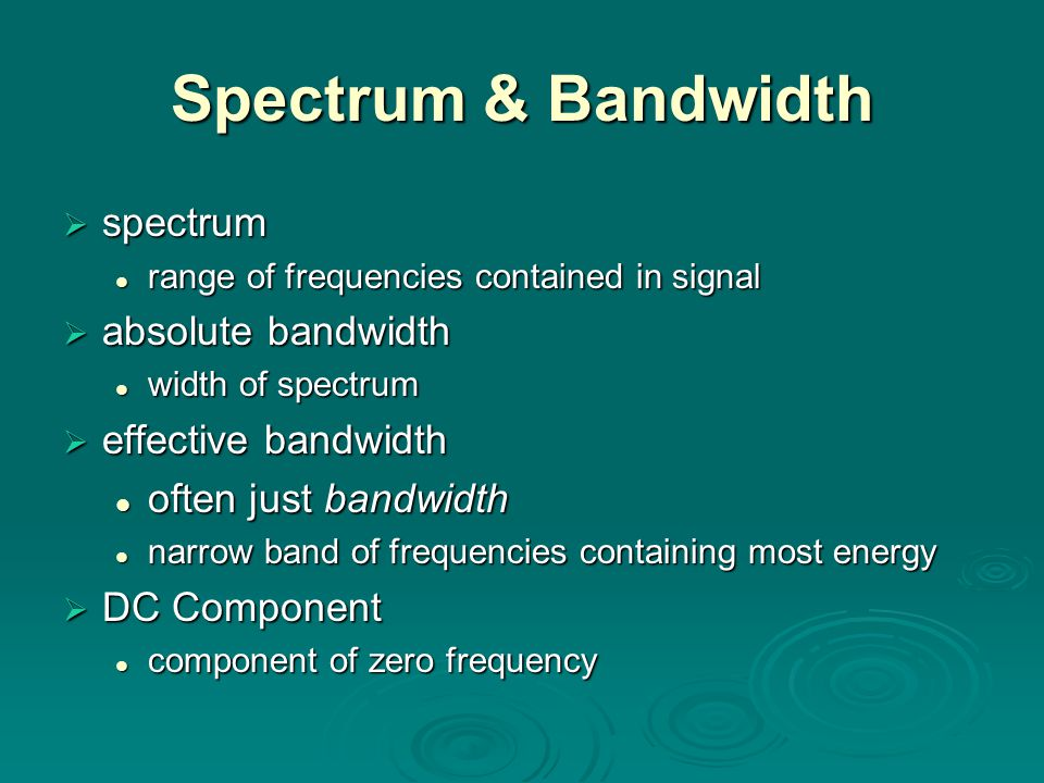 Spectrum & Bandwidth spectrum absolute bandwidth effective bandwidth