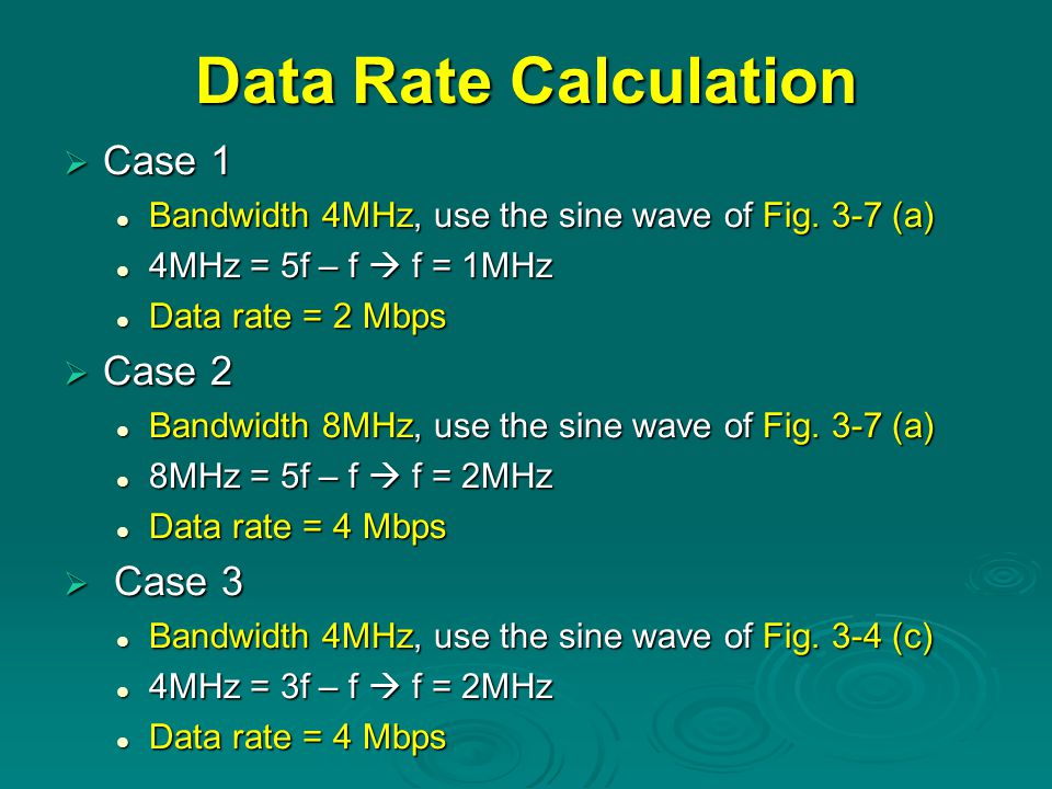 Data Rate Calculation Case 1 Case 2 Case 3