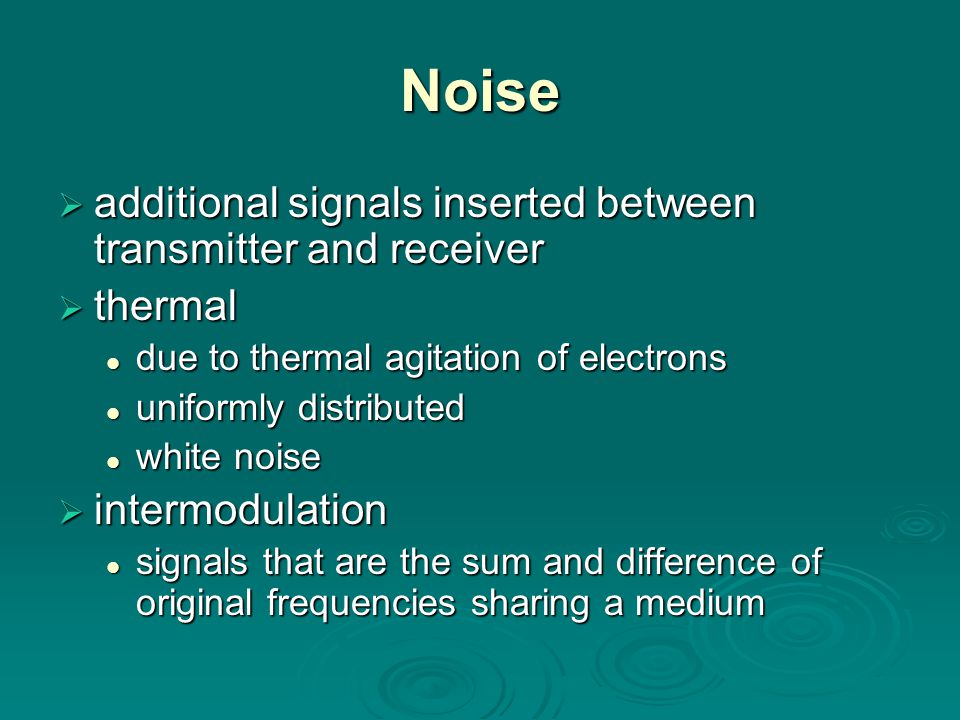 Noise additional signals inserted between transmitter and receiver