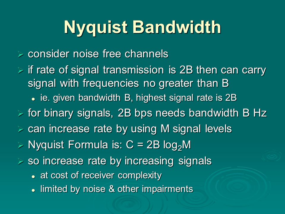 Nyquist Bandwidth consider noise free channels