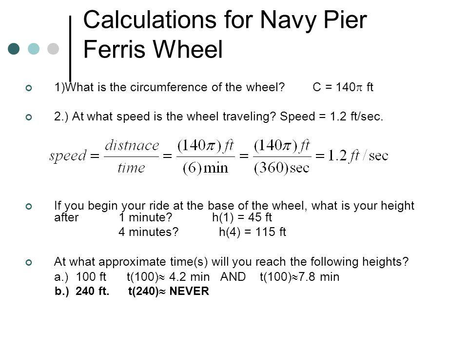 Calculations for Navy Pier Ferris Wheel