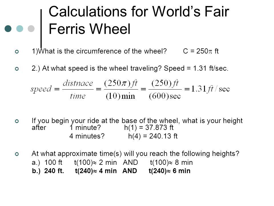 Calculations for World's Fair Ferris Wheel