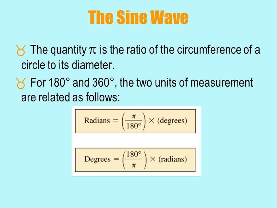 The Sine Wave The quantity  is the ratio of the circumference of a circle to its diameter.
