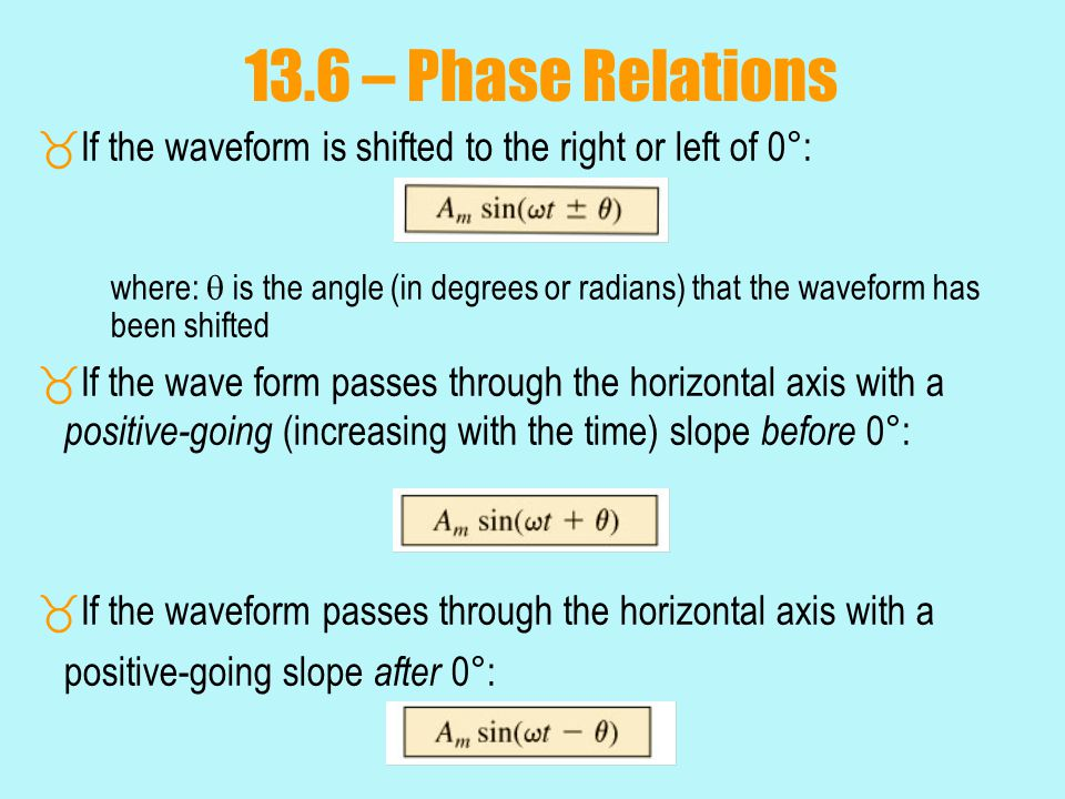 13.6 – Phase Relations If the waveform is shifted to the right or left of 0°: