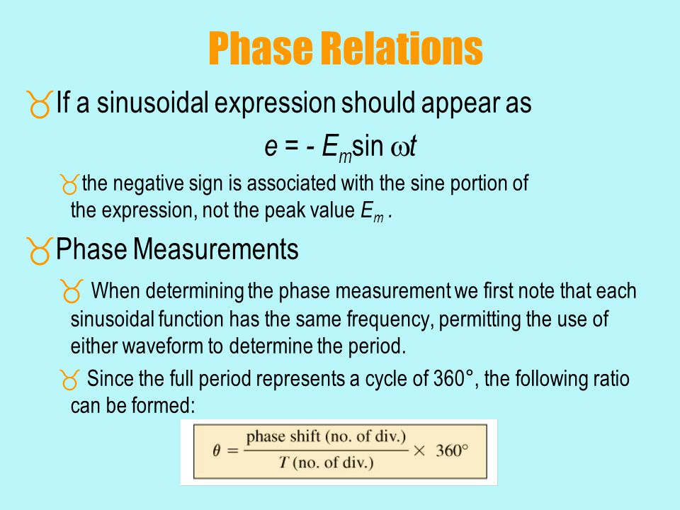 Phase Relations If a sinusoidal expression should appear as