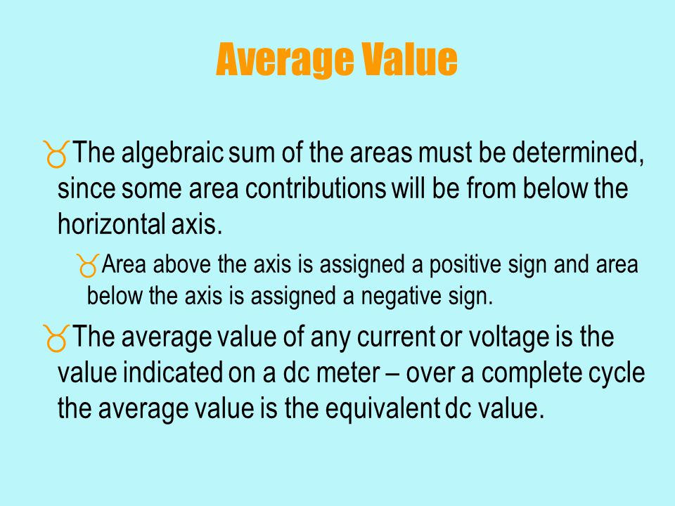 Average Value The algebraic sum of the areas must be determined, since some area contributions will be from below the horizontal axis.