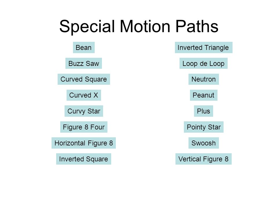 Special Motion Paths Bean Inverted Triangle Buzz Saw Loop de Loop