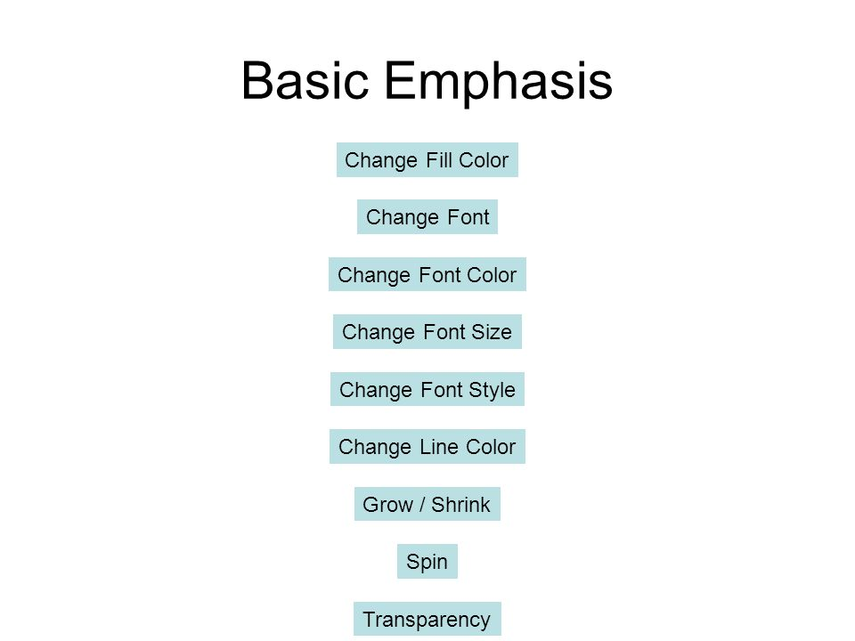 Basic Emphasis Change Fill Color Change Font Change Font Color