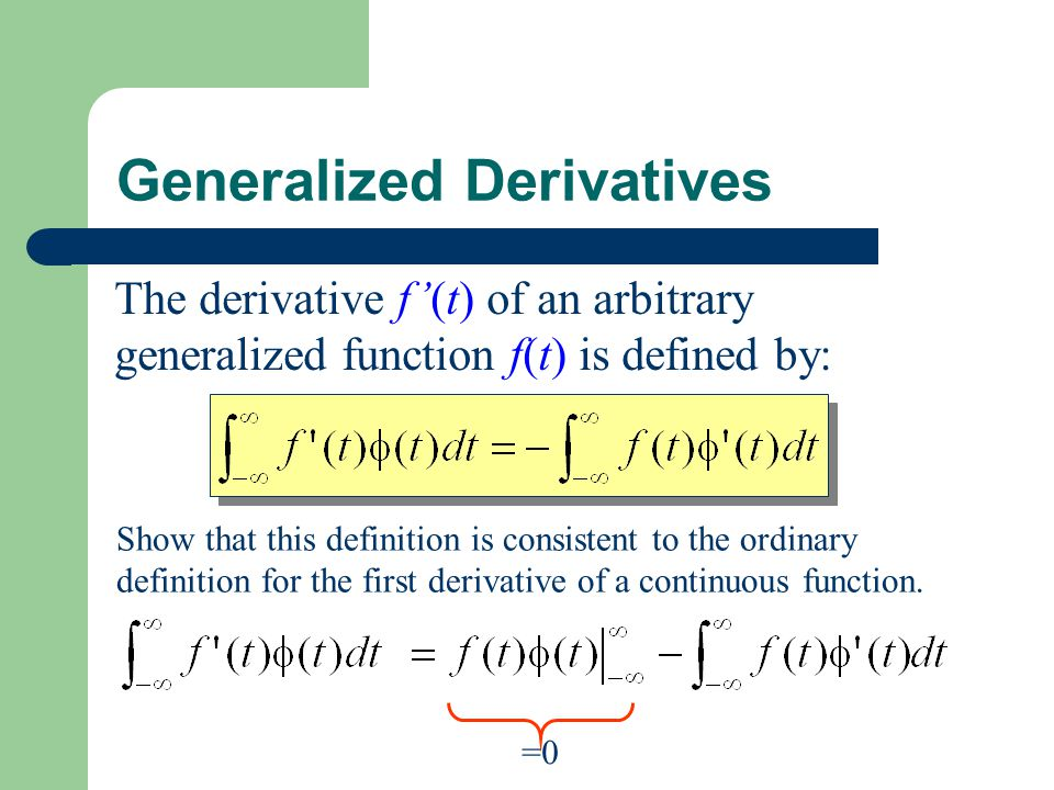 Generalized Derivatives