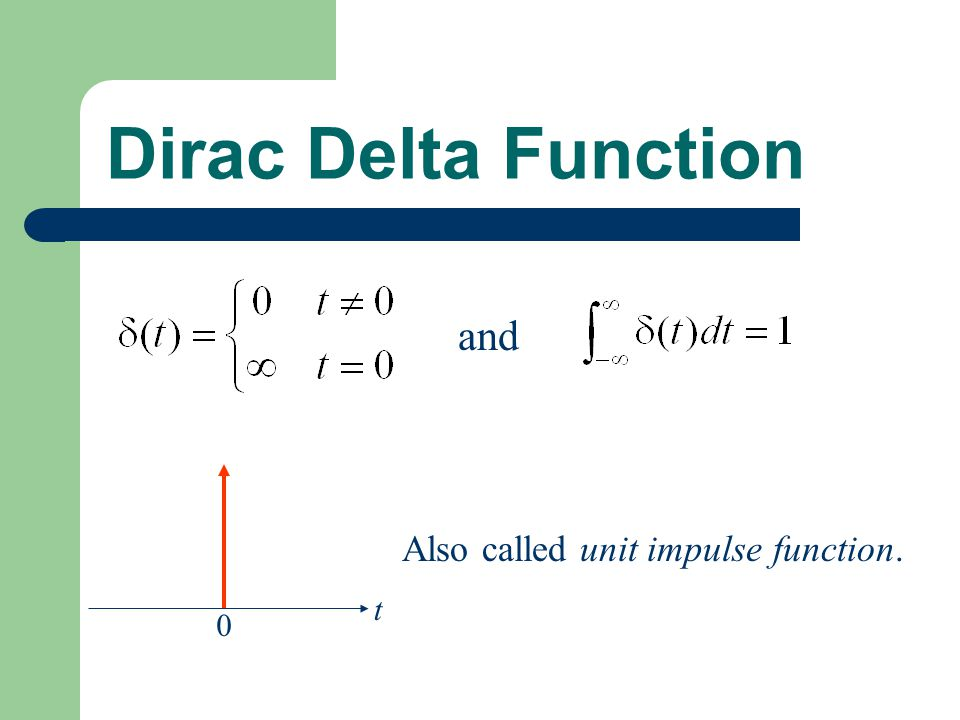 Dirac Delta Function and t Also called unit impulse function.