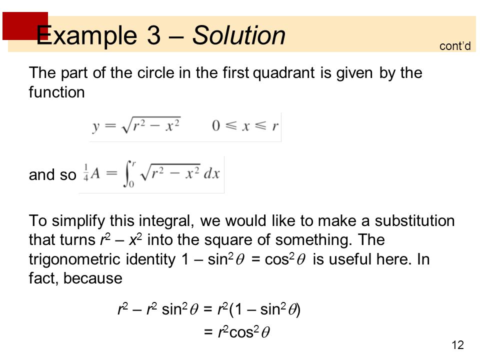 Example 3 – Solution cont'd. The part of the circle in the first quadrant is given by the function.