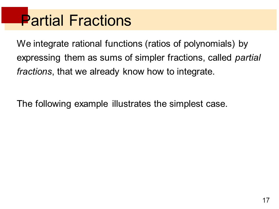 Partial Fractions