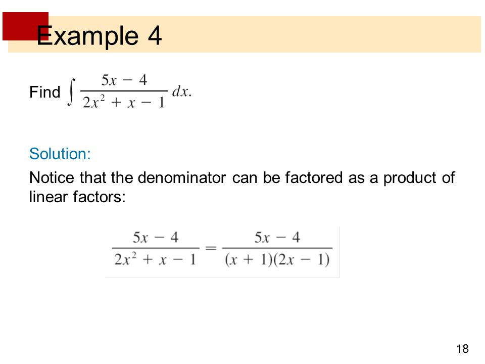Example 4 Find Solution:
