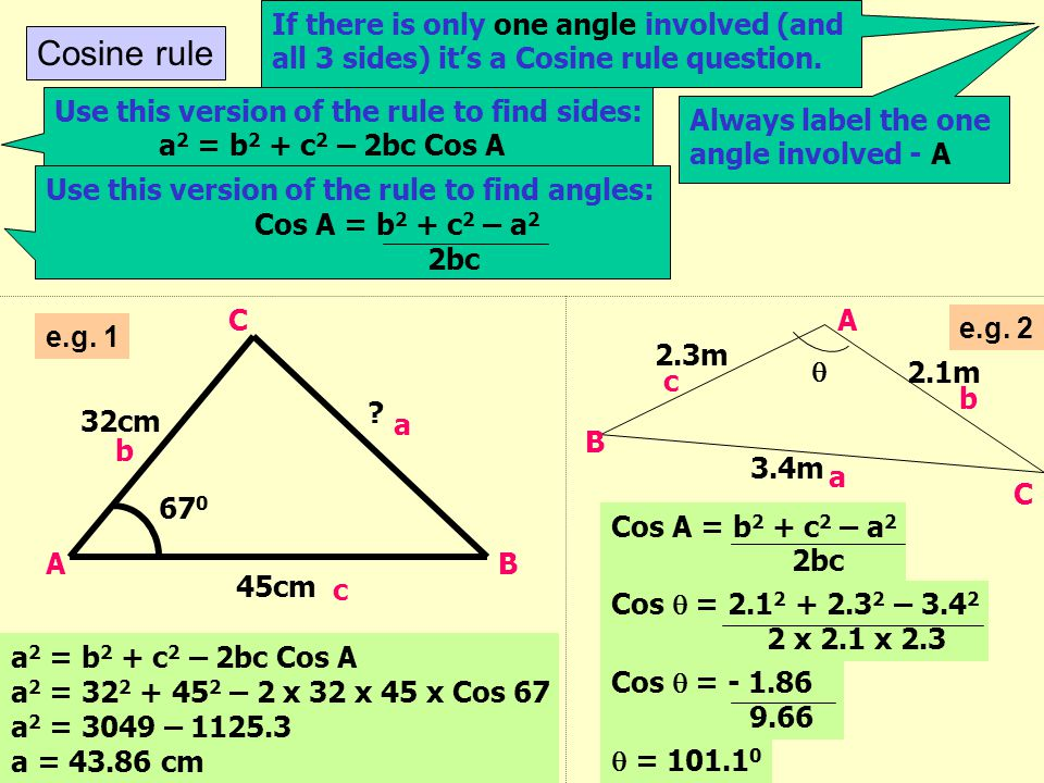 If there is only one angle involved (and all 3 sides) it's a Cosine rule question.
