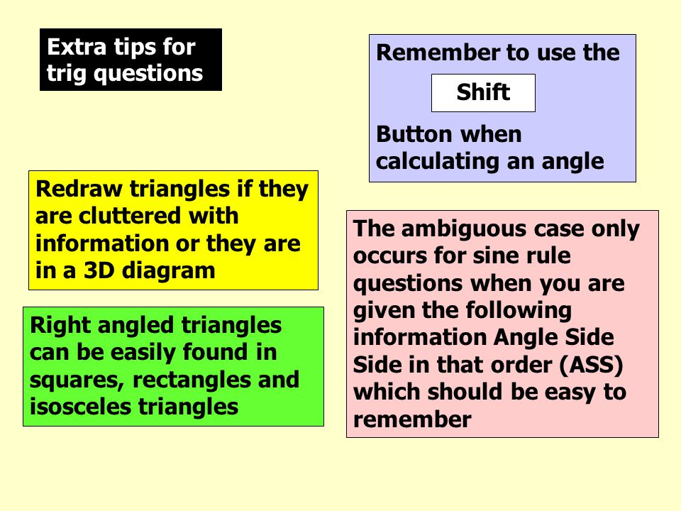 Extra tips for trig questions