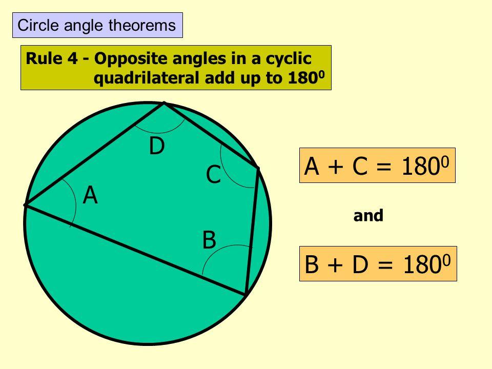 D A + C = 1800 C A B B + D = 1800 Circle angle theorems