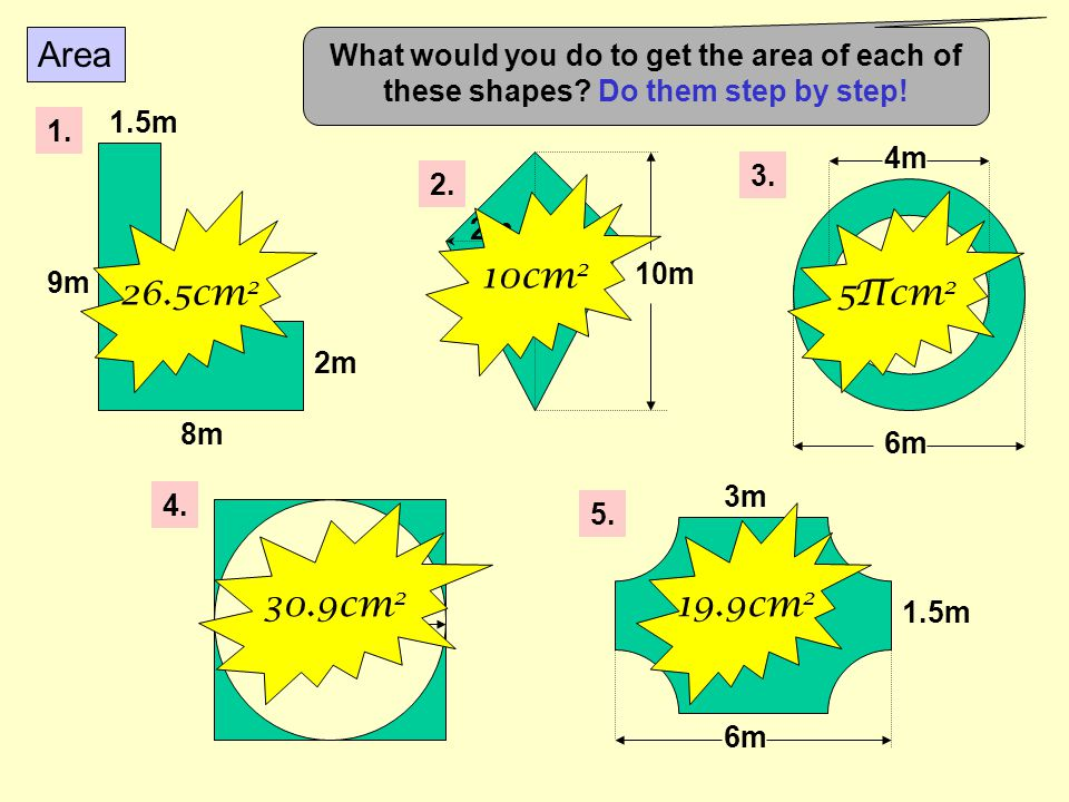 Area What would you do to get the area of each of these shapes Do them step by step! 1. 9m. 1.5m.