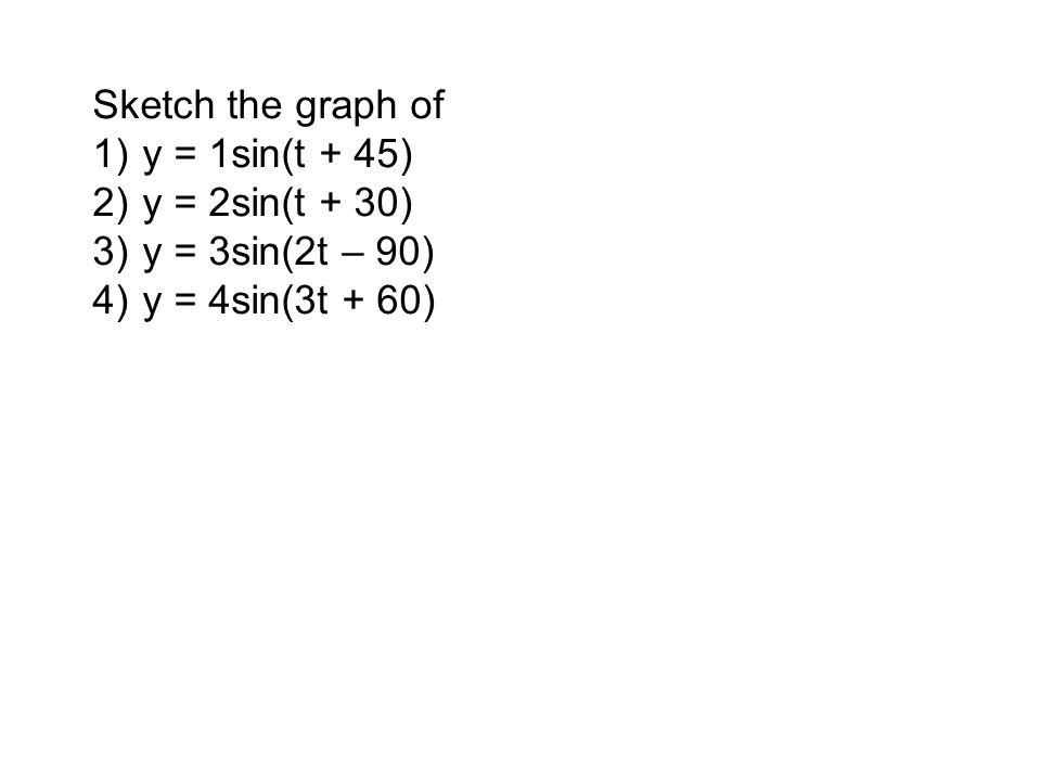 Sketch the graph of y = 1sin(t + 45) y = 2sin(t + 30) y = 3sin(2t – 90) y = 4sin(3t + 60)