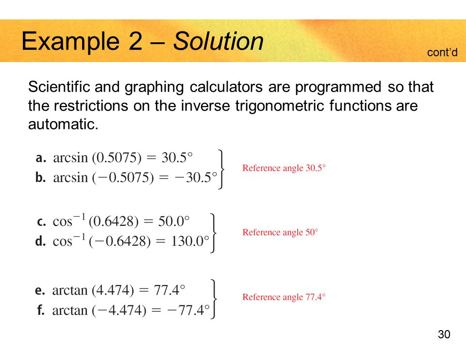 Example 2 – Solution cont'd. Scientific and graphing calculators are programmed so that the restrictions on the inverse trigonometric functions are.