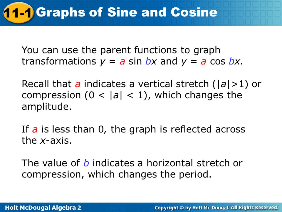 You can use the parent functions to graph transformations y = a sin bx and y = a cos bx.