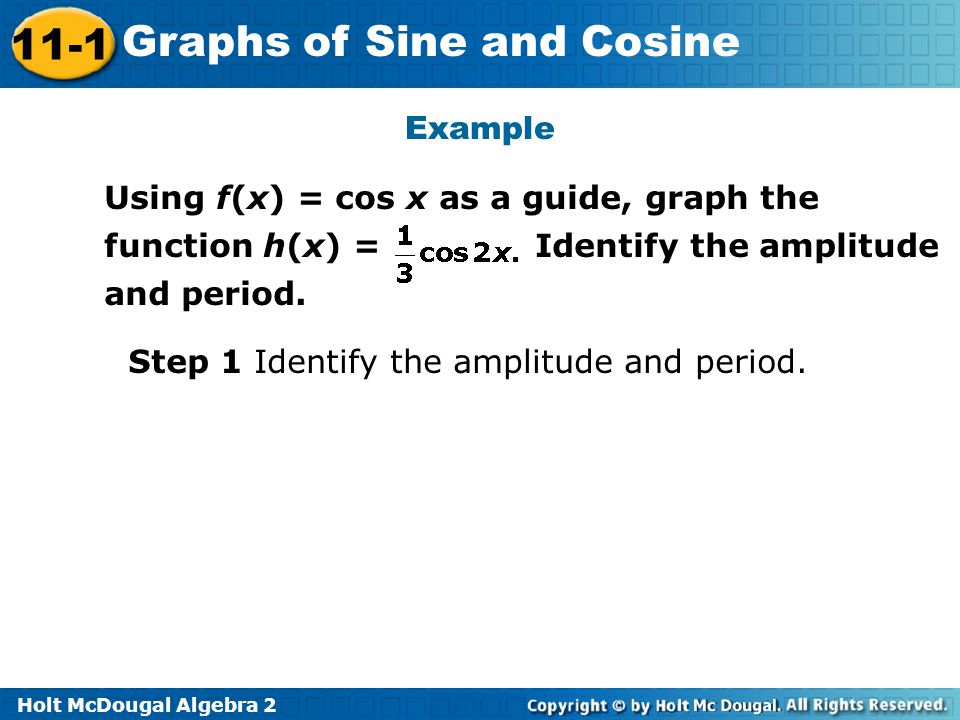 Example Using f(x) = cos x as a guide, graph the function h(x) = Identify the amplitude and period.