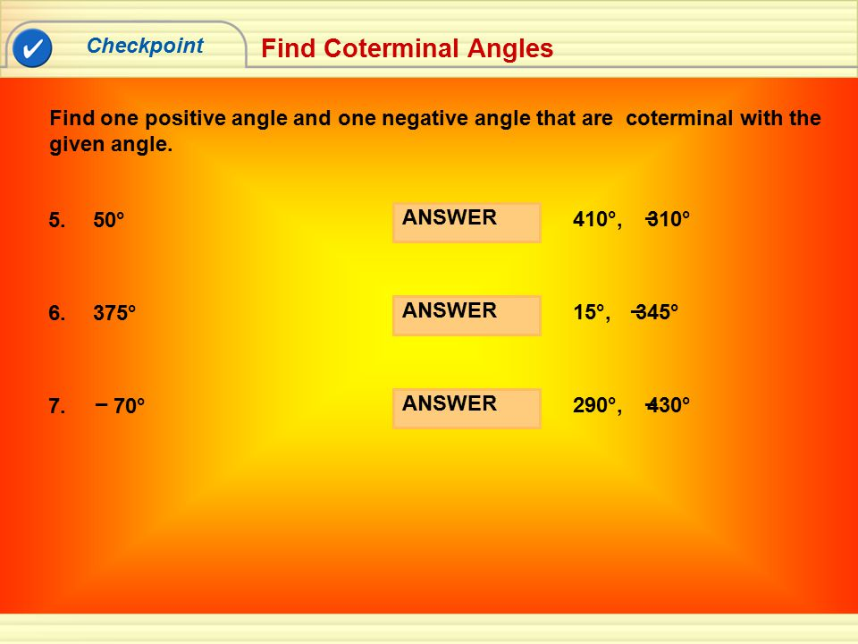 Find Coterminal Angles