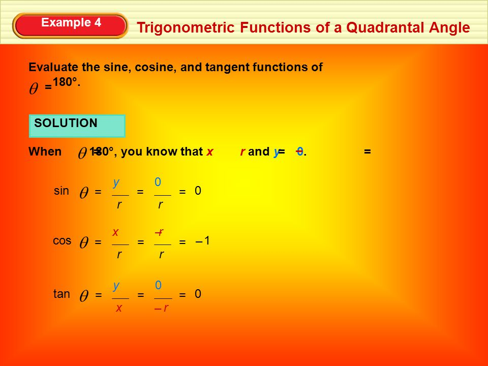 q q q q q Trigonometric Functions of a Quadrantal Angle Example 4